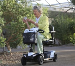 woman on a disbility scooter