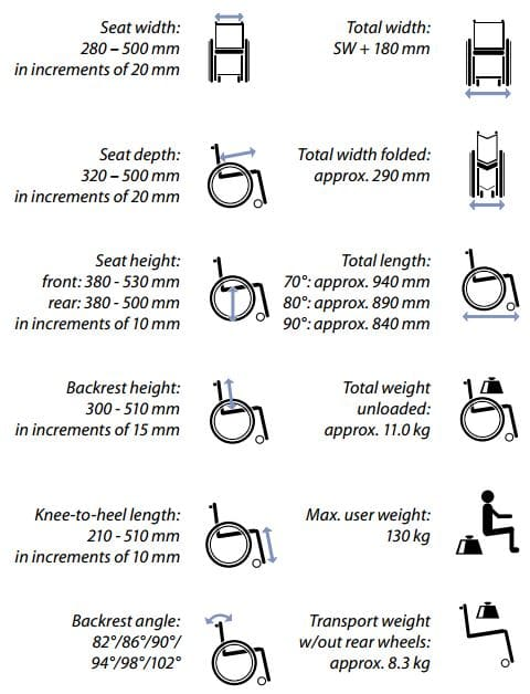 Compact wheelchairTechnical features