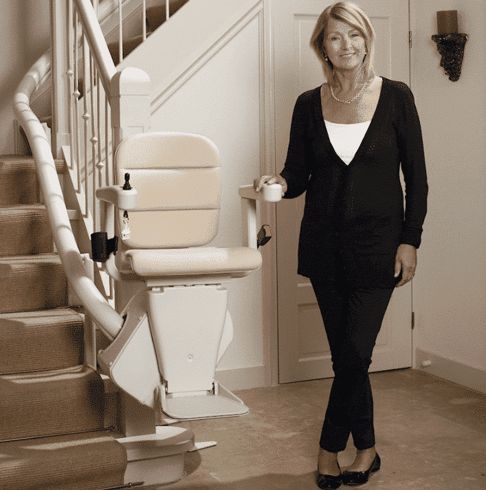 A curved stairlift