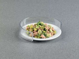 A clear plate guard to stop food falling off a plate