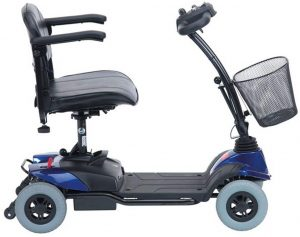 Lightweight mobility scooter in sapphire blue