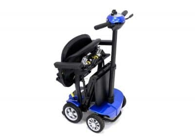 Globe Trotter mobility scooter in capri blue fully folded