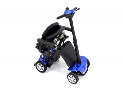 Globe Trotter mobility scooter in capri blue folding further