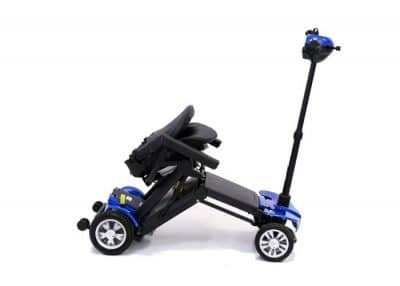 Globe Trotter mobility scooter in capri blue folding