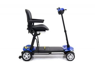 Globe Trotter mobility scooter in capri blue fully open