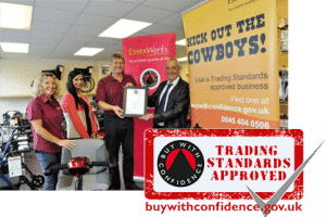 trading standards approved logo and image of the Easy Mobility Services team
