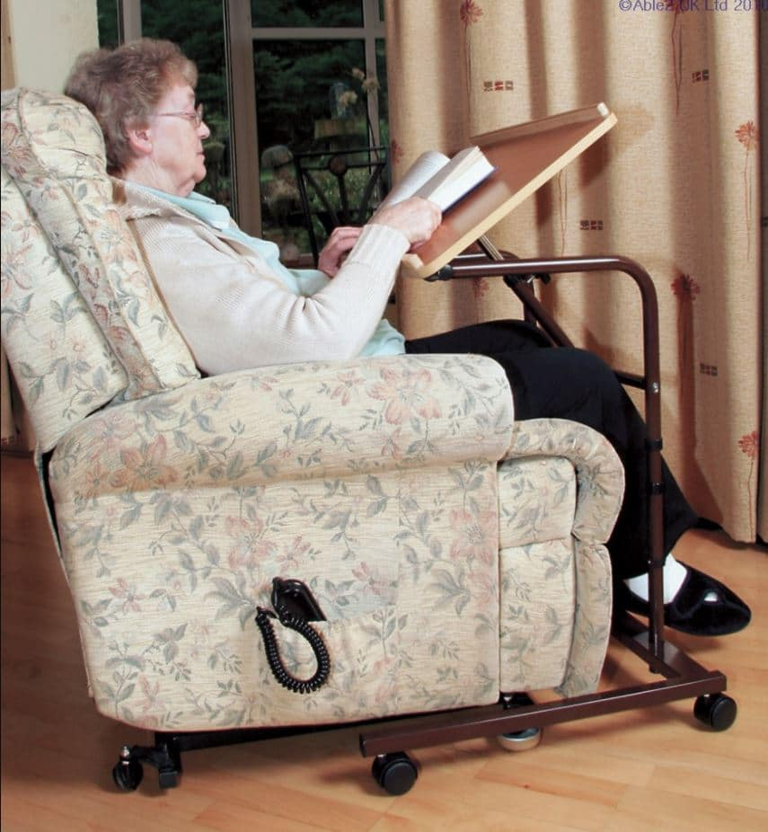 A woman using economy over chair table