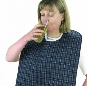 a bib to protect clothes from spillages when eating or drinking