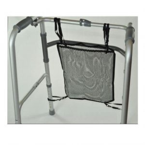 a black mesh net bag for a walking frame or trolley