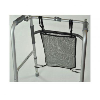 a black mesh net bag for a walking frame or trolley